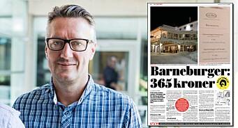 Norges største avis hakket til mot svindyr barneburger. Glemte å fortelle at den irriterte gjesten var VG-ansatt