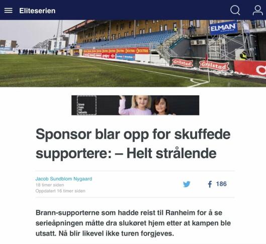 Eurosports tittel og ingress slik den står i dag.