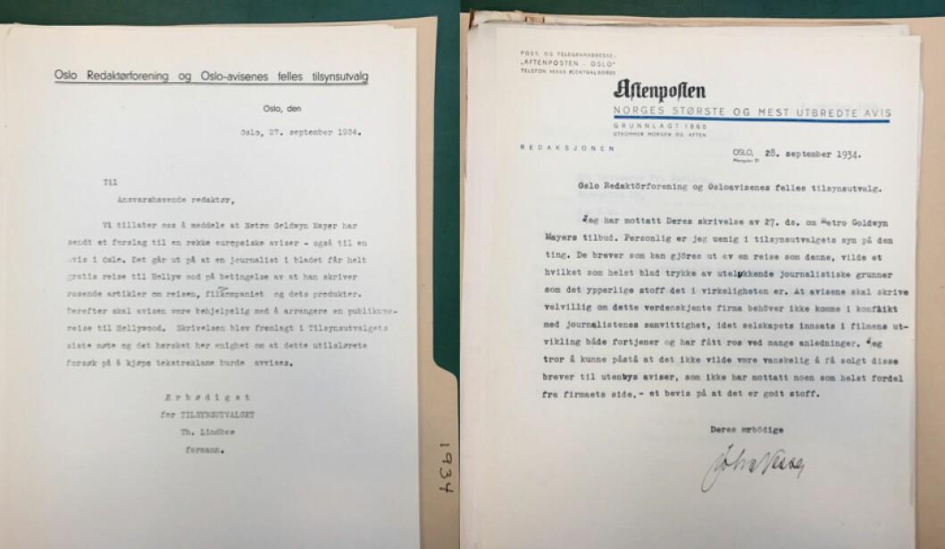 Brev fra Tilsynsutvalget i 1934 der utvalget fraråder redaksjoner å si ja til gratis tur til Hollywood mot å skrive rosende omtale av reisen og filmselskapet, og videre: svaret fra Aftenposten som er uenig med tilsynsutvalget i dette (arkivreferanse: Tekstreklameutvalget/Riksarkivet).