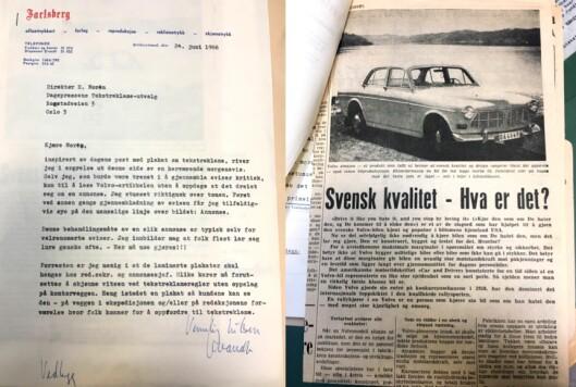 Brev fra 1966: Jarlsberg avis sin irritasjon over annonser som ser ut som redaksjonelt stoff, for øvrig forbausende likt debatten om annonsørinnhold i dag (arkivreferanse: Tekstreklameutvalget/Riksarkivet).