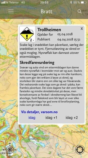 Dovrefjell ligger i Trollheimen, påstår NGIs Bratt-app - men det er feil.