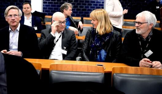 Fra Medietilsynets presentasjon for noen uker siden: NRKs styreleder Birger Magnus, kringkastingssjef Thor Gjermund Eriksen, MBL-direktør Randi Øgrey og Stig Finslo, direktør for utgiverspørsmål og kommunikasjon i Amedia.