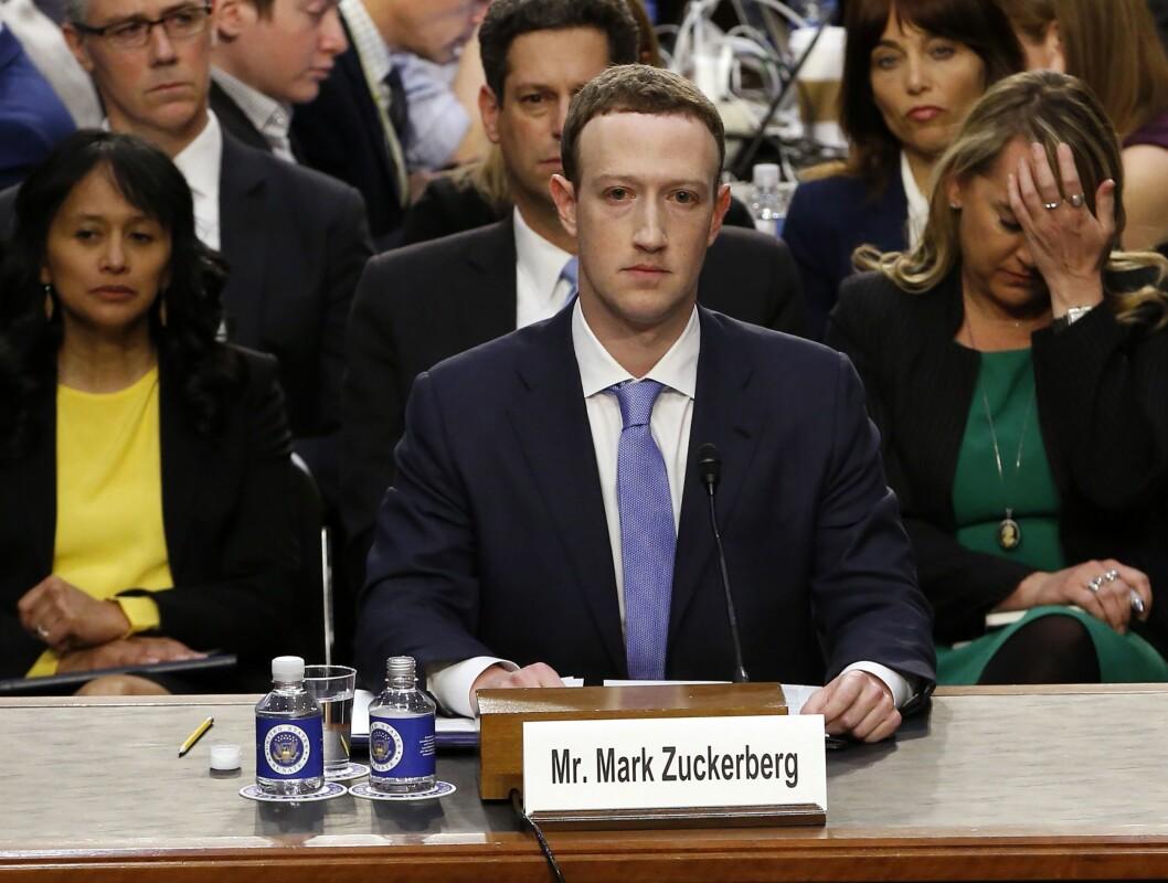 Mark Zuckerberg på gårsdagens høring i Senatet.