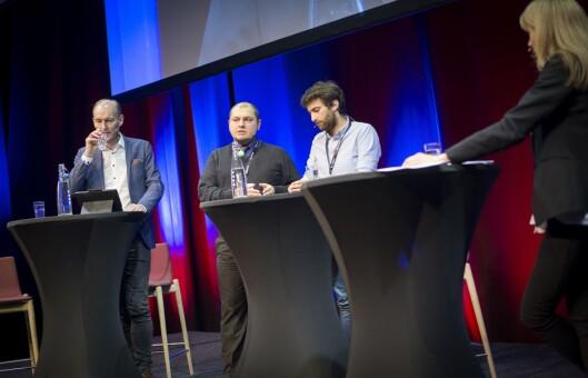 Knut Olav Åmås, Gurkan Ozturan, Matthew Caruana Galizia og programleder Hege Moe Eriksen.