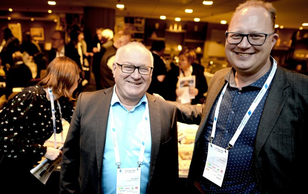 Avtroppende generalsekretær Rune Hetland og påtroppende generalsekretær Tomas Bruvik i LLA.