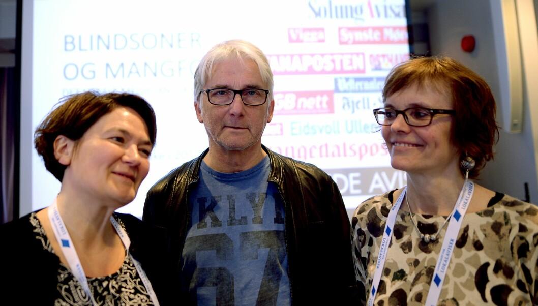 ARKIVFOTO: Fra venstre: Forskerne ved Nord Universitet Birgit Røe Mathisen, Bengt Engan og Lisbeth Morlandstø.Her fra de la fram del en av undersøkelsen hos Landslaget for Lokalaviser (LLA).