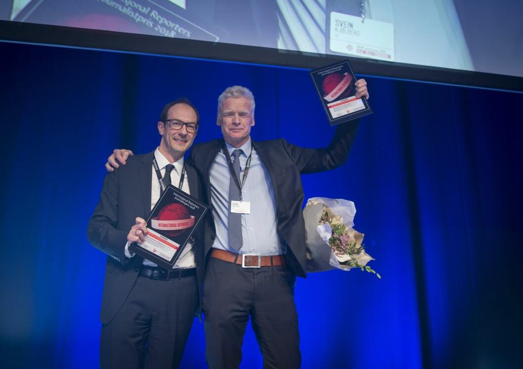 VGs Ronny Berg, Stian Eisenträger og Espen Rasmussen vinner årets IR-pris.