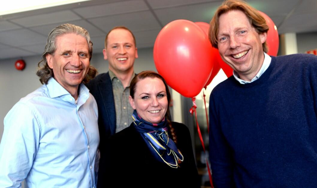 SELGER RED GRUPPEN: Disse fire selger nå sine aksjer i Red-konsernet til Dentsu Aegis Network Norway. Fra venstre - Nils Røang, konsernsjef Maria Aas-Eng, Red Performance-sjef Magnus Strømnes Bøe og Christian Apneseth.