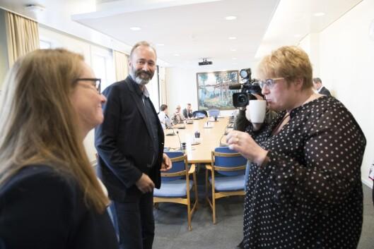 Trond Giske (i midten) kom tilbake til politikken for noen uker siden, nå som mediepolitisk talsperson i Arbeiderpartiet.