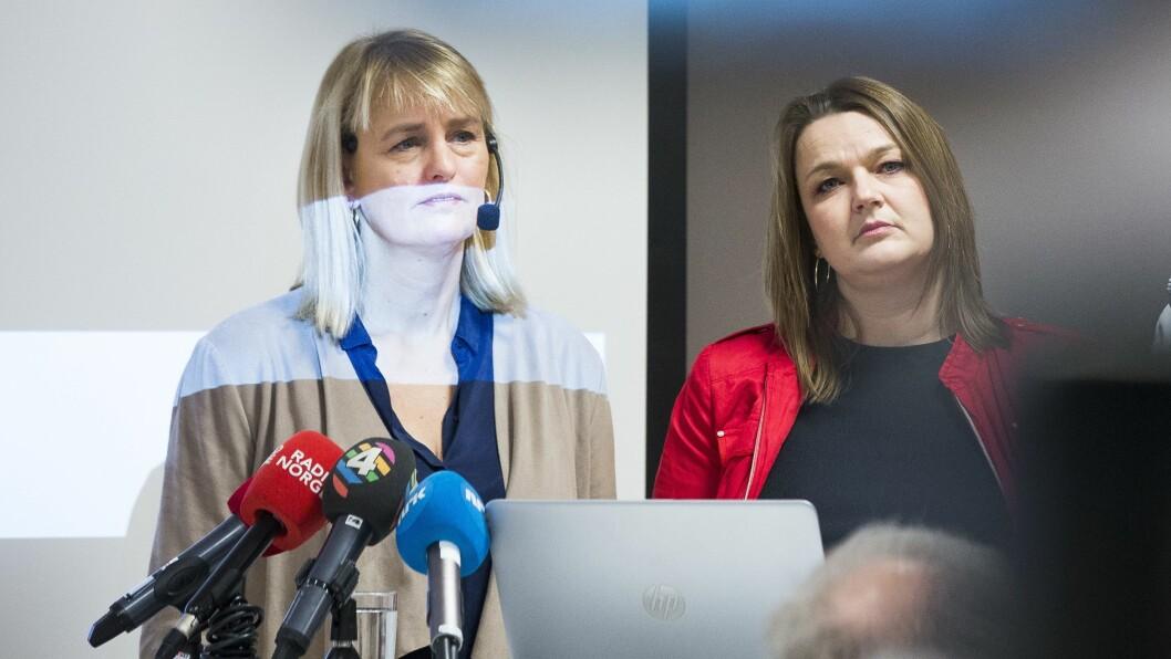 MBL-direktør Randi S. Øgrei og NJ-leder Hege Iren Frantzen. Bildet er fra en pressekonferanse høsten 2017.