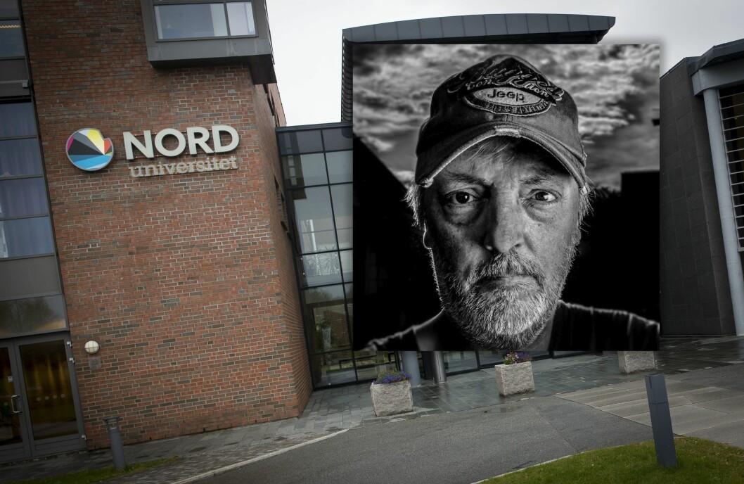 Kreativ leder Rune Nilsen i Bodø Nu innfelt over et bilde av inngangspartiet til Nord universitet.