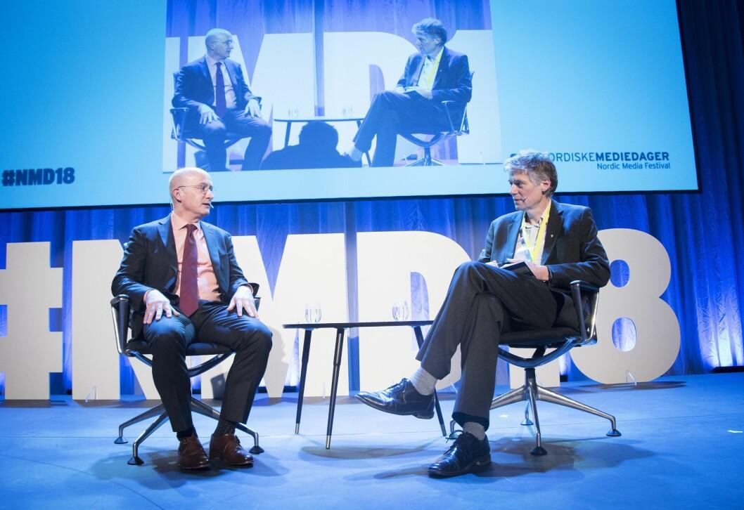 Cameron Barr er redaktør for nyheter og reportasjer i Washington Post. Her i samtaler med VG-kommentator Anders Giæver.