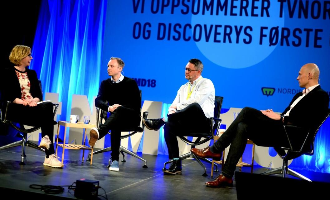 Fra venstre: Moderator Sarah Sørheim,  kommunikasjonsdirektør Espen Skoland, sportsdirektør Eirik Koren og produsent Hasse Lindmo i Concorde.