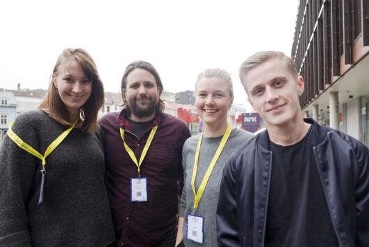 Vilje Kathrine Hagen, Johan Fasting, Yngvild Sve Flikke og Axel Bøyum på Mediedagene i Bergen.