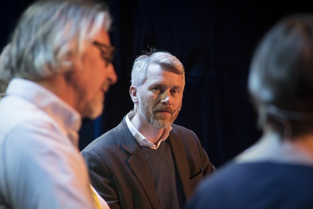 TV 2 kjemper for seg selv, men kampen er i stor grad den samme for de andre norske TV-aktørene. Her sjefredaktør og direktør Olav Sandnes under TV-toppmøtet på Nordiske Mediedager i Bergen tidligere i mai.