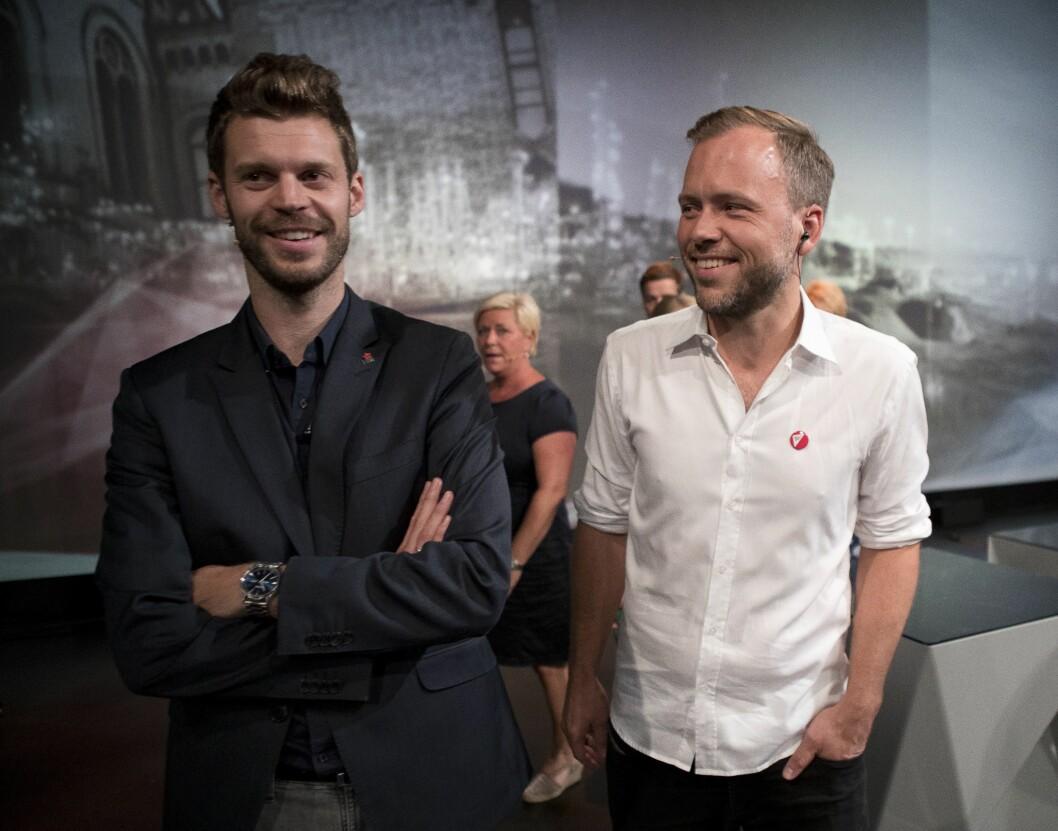STYRE LANDET? Det vil gjerne norske journalister. Rødt-leder Bjørnar Moxnes og SV-leder Audun Lysbakken. Bildet er fra Arendalsuka i august 2017.