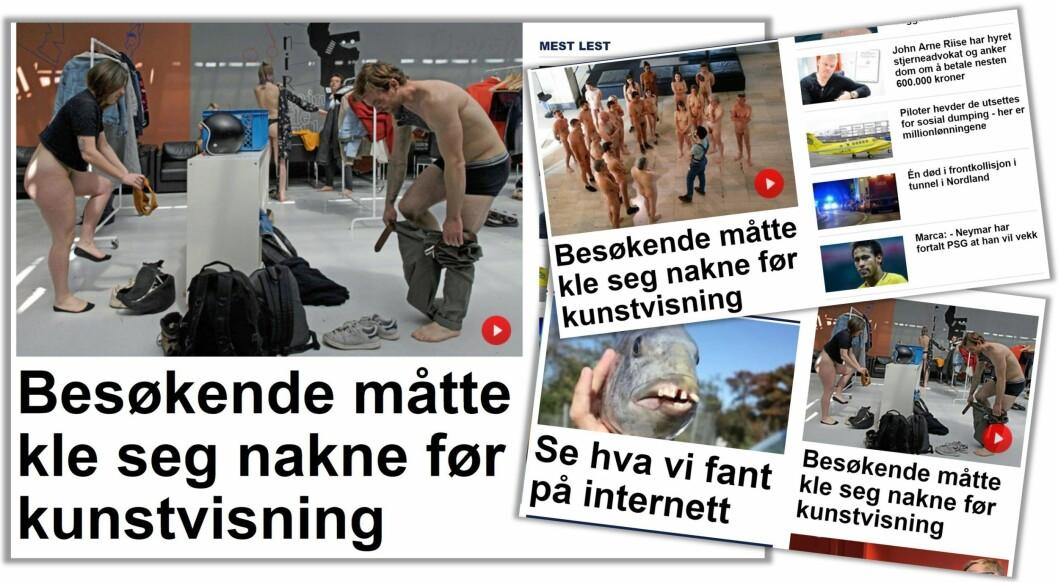 KLAR PRIORITERING: En fem dager gammel NTB-sak om nudister står tre steder på Nettavisens forside fredag 11. mai kl 19:09.