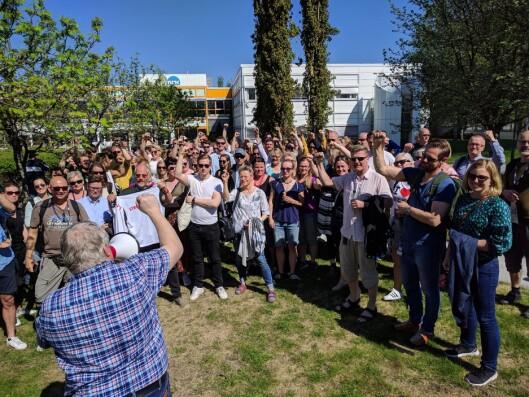 Det er fra da NRK Trøndelags NJ-medlemmer gikk ut i streik.