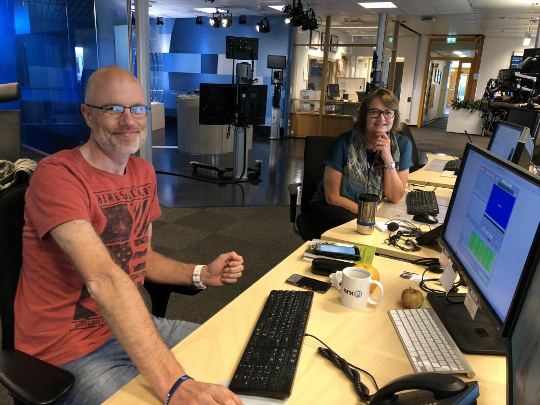 Redaksjonssjef Joar Elgåen og distriktsredaktør Merete Verstad er på plass i lokalene til NRK Trøndelag.