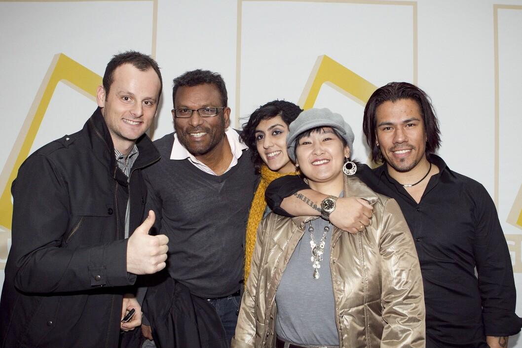 GULLRUTEN: Migrapolis var nominert til TV-pris flere ganger, og fikk den i 2007. Men nå har ikke Rajan Chelliah (nummer to fra venstre) kompetanse til å jobbe i NRK. Her fra Gullruten 2011, fra venstre: Eden Babic, Chelliah, Namra Saleem, Lotten CHristiansen og Vegard Thomas Olsen.