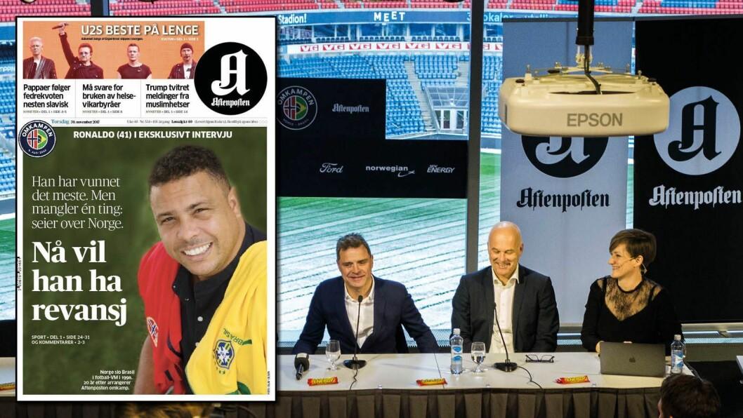Fra pressekonferansen da Omkampen ble lansert i november - og Aftenpostens forside påfølgende dag.