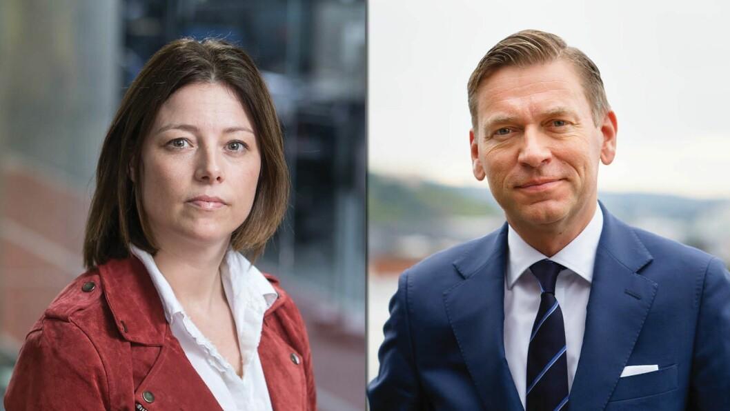 TV 2-direktør Sarah Willand og Schibsted Media-sjef Raoul Grünthal.