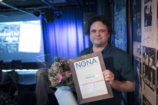 Jari Bakken og Faktisk.no vant pris for årets digitaljournalistikk for liten redaksjon under årets NONA-konferanse.