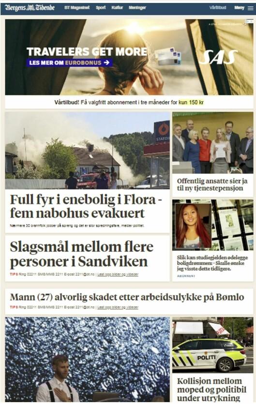 """Eksempel på """"mer eller mindre fraværende"""" regionavis i Norge, ifølge Medietilsynet."""