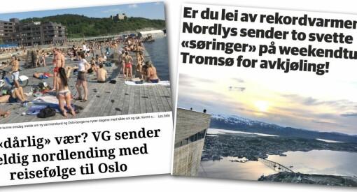 VG ville sende kalde nordlendinger til Oslo. Nordlys svarer med å hente to solbrente søringer til Tromsø for avkjøling