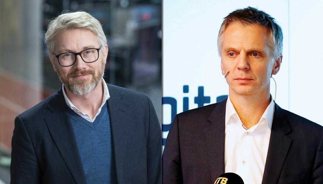 TV 2-sjef Olav Sandnes og Canal Digital-sjef Ragnar Kårstad.