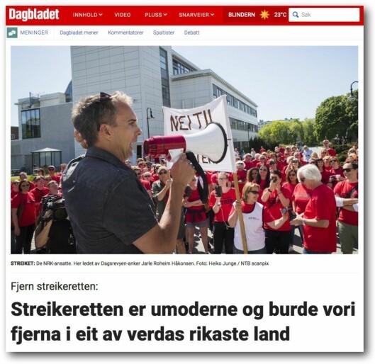 Dagbladets debattinnlegg om streikeretten.