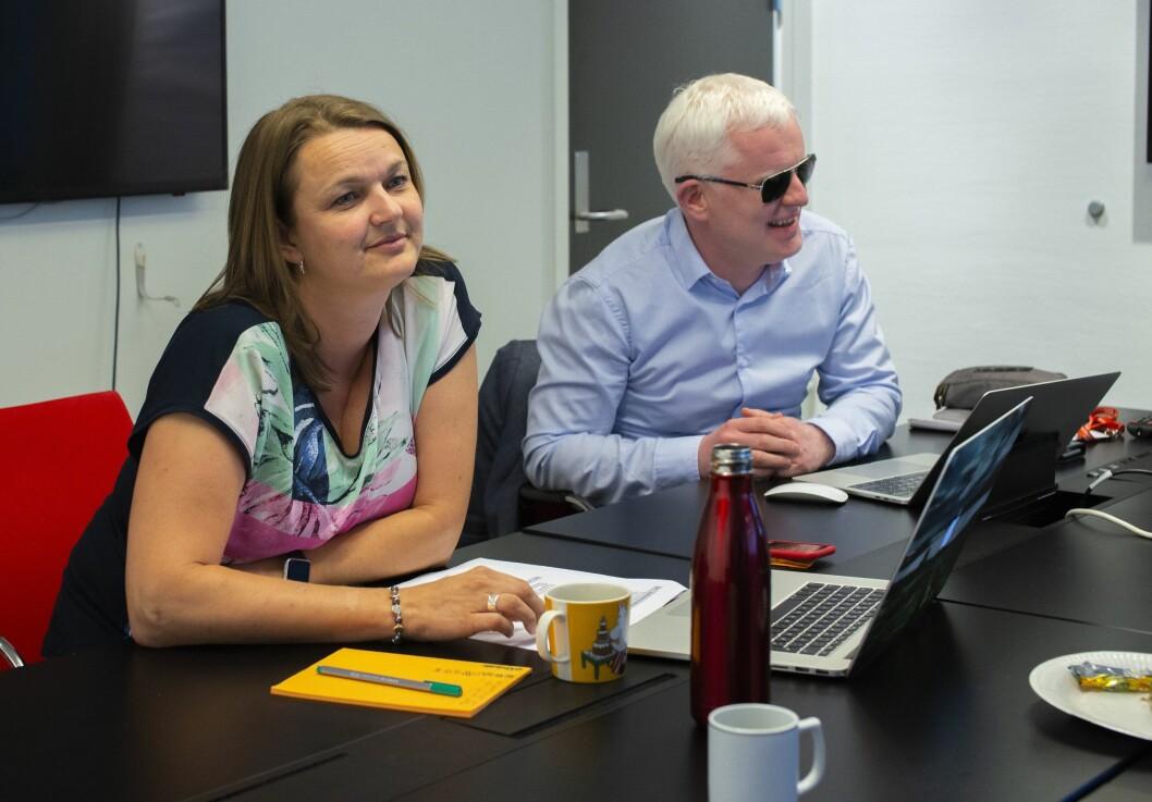 Leder i Norsk Journalistlag, Hege Iren Frantzen, her sammen med nestleder Dag Idar Tryggestad under landsstyremøtet i juni 2018.