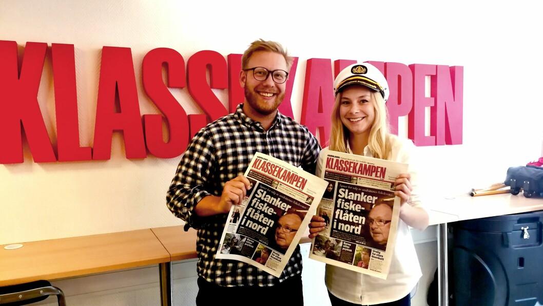 Mikkel Øgrim Haugen og Linn-Elise Øhn Mehlen er ansvarlige for Klassekampen sommerturné i Finnmark.