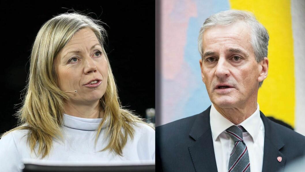 Aftenpostens politiske redaktør Trine Eilertsen og Ap-leder Jonas Gahr Støre.
