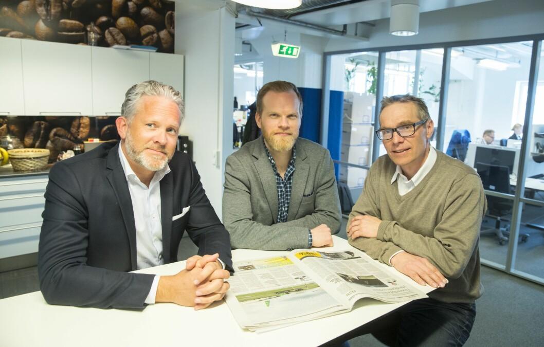 SATSER PÅ AI: Espen Viskjer (Norgessjef Retriever), Claes Lyth Walsø (CIO Retriever) og Jon Atle Gulla (Professor NTNU).