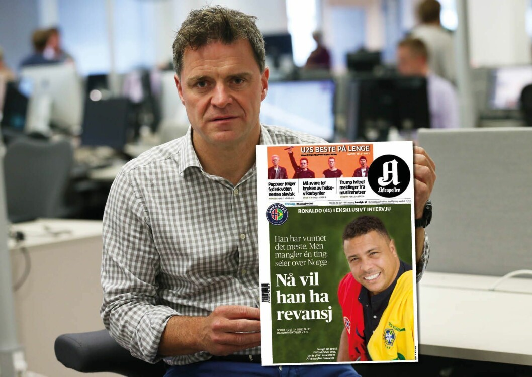 Espen Egil Hansen og Aftenposten har brukt mye tid og plass på «Omkampen» det siste halve året. INNFELT: Forsiden 30. november 2017. (Ja, bildet er en montasje. I originalbildet fra høsten 2016 er det brevet til Mark som holdes opp).