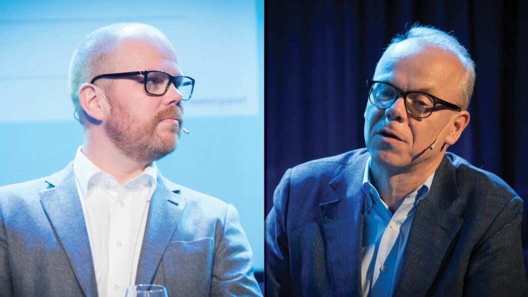 Sjefredaktør Gard Steiro i VG (t.v.) og Google Norge-sjef Jan Grønbech. Bildene er fra TV-toppmøtet under Nordiske Mediedager i Bergen mai 2018.