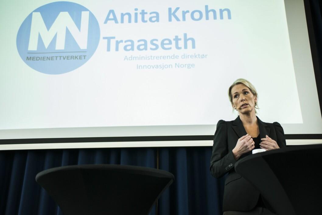 Anita Krohn Traaseth, direktør for Innovasjon Norge. Her på en konferanse høsten 2017.