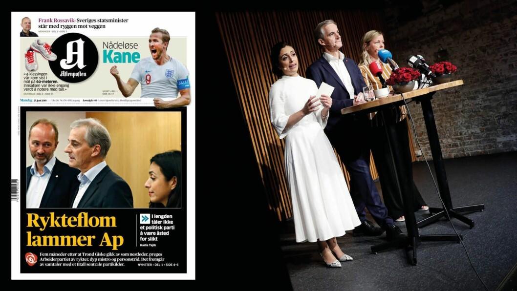 Arbeiderpartiet holdt forrige uke pressekonferanse før sommeren. Innfelt: Mandagens forside i Aftenposten.