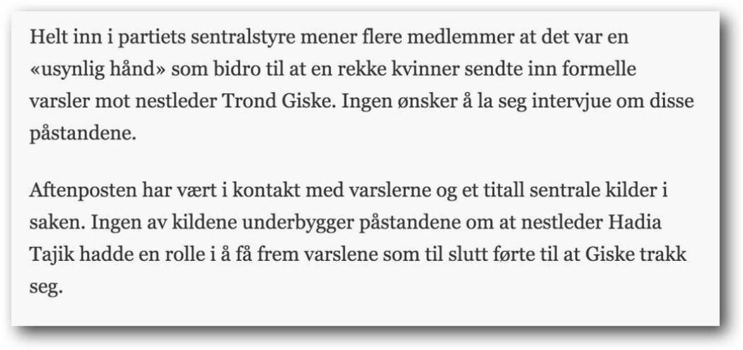 Fra dagens hovedsak i Aftenposten.