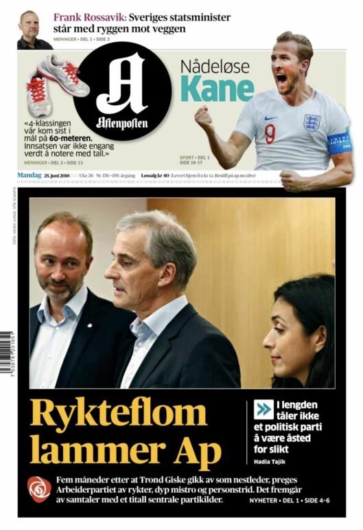 Dagens forside på Aftenposten.