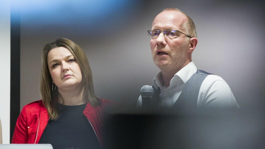 Leder Hege Iren Frantzen i NJ og generalsekretær Arne Jensen i Norsk Redaktørforening.