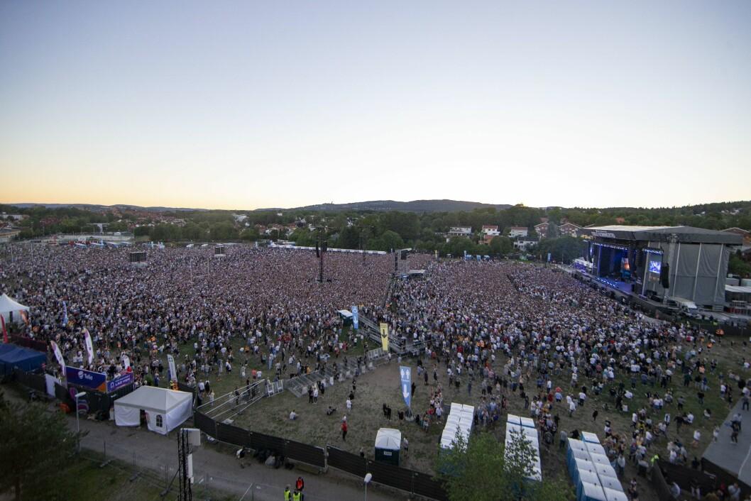 Verdensstjernen Eminem holdt konsert foran 55.000 fans på Voldsløkka i Oslo, men fotografene fikk ikke slippe inn.