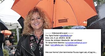 «Ikke svar henne», skrev ELLE-redaktøren i en feilsendt e-post til Medier24. Signy Fardal bør holde seg for god for slikt