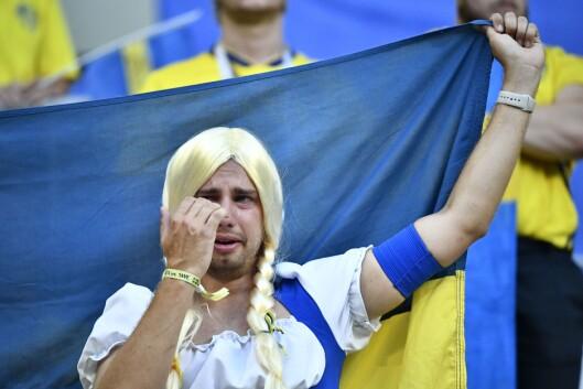 Svenske fans reagerte etter tapet mot England i lørdagens kvartfinale mellom Sverige og England på Samara Arena under VM i fotball i Russland.