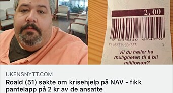 Ukesnytt.com sprer falske nyheter: Nei, Roald (51) fikk ikke en pantelapp på to kroner av Nav
