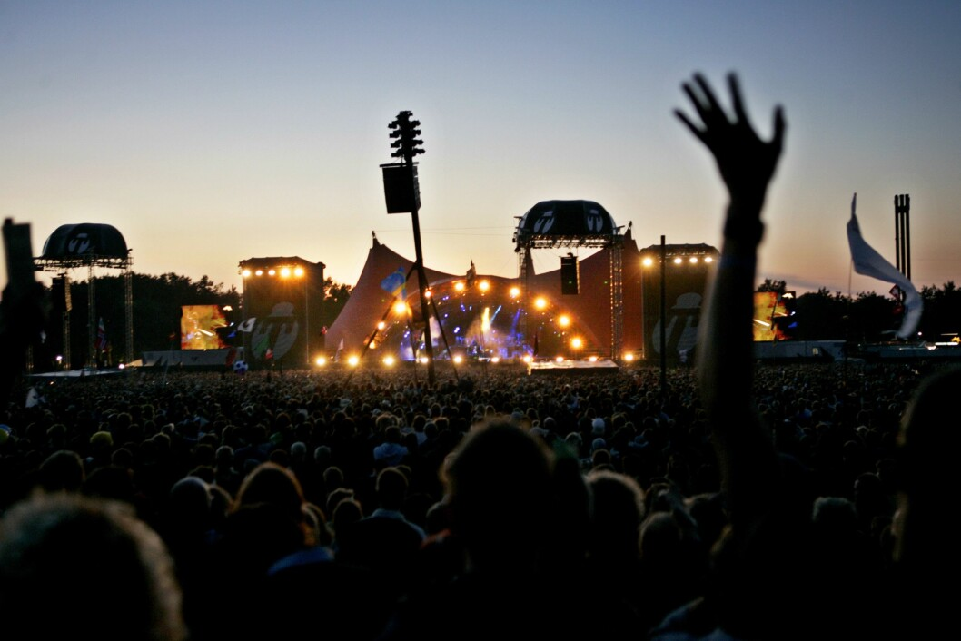 Musikkgruppen Guns N' Roses snur om fotoforbud. Her fra da de spilte på dRoskildefestivalen i 2006.