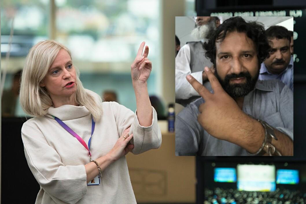 Nyhetsredaktør Karianne Solbrække i TV 2 og reporter Kadafi Zaman.