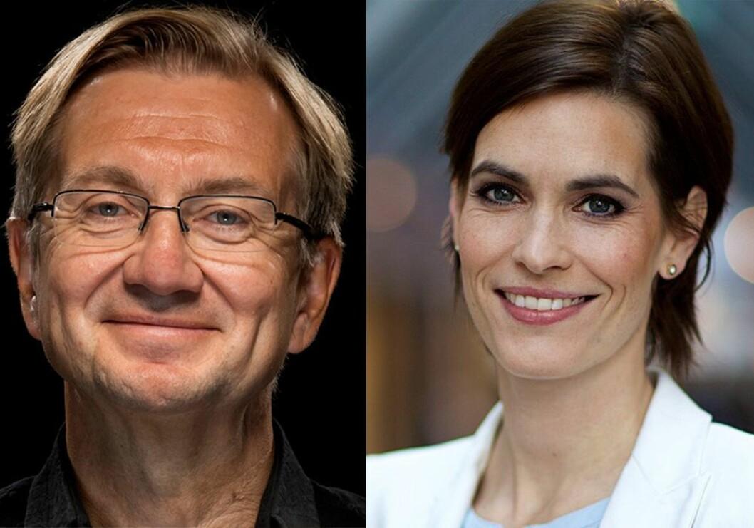 Mediekritiker Trygve Aas Olsen og distriktsredaktør Dyveke Buanes i NRK Hordaland.