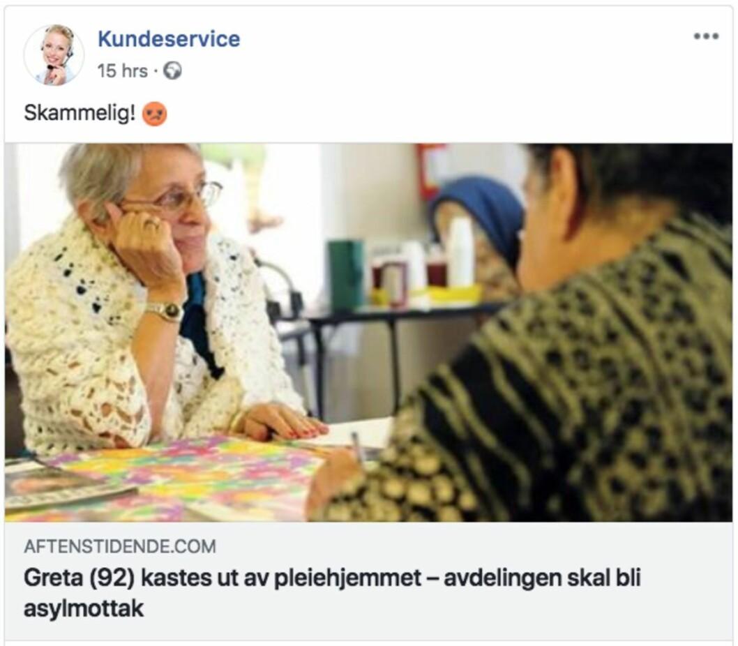Dette er en oppdiktet historie. Bildet av «Greta» er stjålet fra en amerikansk hjemmeside og Kasterud pleiehjem fins ikke. Heller ikke «avdelingsleder Margun Lavdal» eksisterer, og det er ikke oppgitt hvilken kommune pleiehjemmet skal ligge i. Nettstedet som har publisert saken er del av et norsk nettverk av løgnfabrikker.